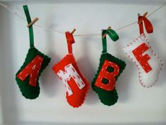Christmas Holiday Stocking Decorations // by StampAndStitch, Christmas Holidays, Christmas Crafts, Xmas, Christmas Ornaments, Felt Tree, Tree Decorations, Stockings, Felt Projects, Trending Outfits