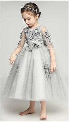 Floral Dress Girly Shop's Gray Beautiful Round Neckline Sheer Half Sleeve Ankle – Floor Length Infant Toddler Little & Big Flower Girl Gown Gowns For Girls, Little Girl Dresses, Girls Dresses, Flower Girl Gown, Flower Dresses, Flower Girls, Beautiful Dresses, Nice Dresses, Beautiful Flowers