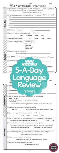 36 weeks of daily Common Core language review for 5th grade! 5-A-Day: 5 tasks a day, M-Th. CCSS L.5.1-L.5.6 Also available for 4th and 6th grades! $