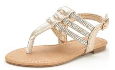 DREAM PAIRS ESTELLE-K Girls Casual Strappy Rhinestones Bucklet Strap Thong Flat Summer Sandals (Toddler/Little Kid/Big Kid) *** New and awesome product awaits you, Read it now  : Girls sandals
