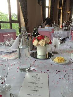 Red and white wedding cupcake bouquet as a table centre