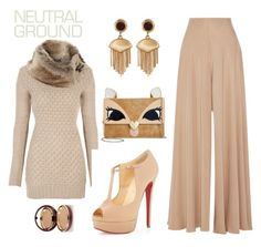 """""""neutral"""" by dharshanaarun on Polyvore featuring The Row, Christian Louboutin, Betsey Johnson, Vince Camuto and Wander Beauty"""