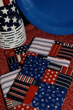 Quilted Coasters Set of Four Red White and Blue by QuiltedCharms, $4.99