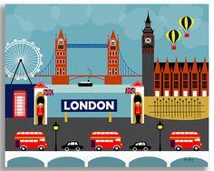 London print London Skyline Wall Art London Decor London