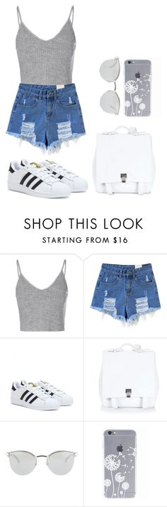 """Demin style"" by csshay on Polyvore featuring Glamorous, adidas, Proenza Schouler, Fendi, grey and DenimStyle"
