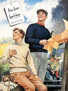 Peter Scott Knitted Sportswear Fully Fashioned.  Peter Scott Ltd, 1958. #advertisement #vintage