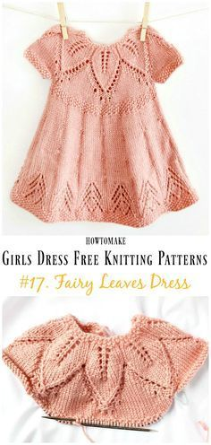 Leaf Love Dress Free Knitting Pattern - Little Girls #Dress Free #Knitting Patterns Girls Knitted Dress, Knit Baby Dress, Knitted Baby Clothes, Crochet Dress Girl, Baby Knits, Baby Patterns, Dress Patterns, Knitting Patterns Baby, Knitting Ideas