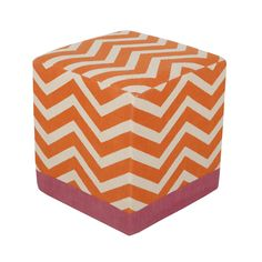 orange chevron pouf - what a fun pop of color in the nursery!