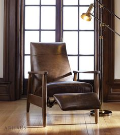 Wordsmith Leather Recliner In Libby Fudge Chairs For Sale, Arhaus Furniture, Furniture, Sofa Furniture, Leather Side Chair, Recliner, Sofa Deals, Best Leather Sofa, Accent Chairs For Living Room