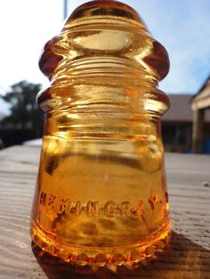 Beautiful Hemingray 9 Light Orange Glass Insulator Colored or Stained