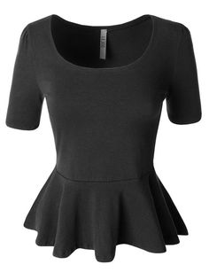 41b01b50b2f Womens Fitted Scoop Neck Short Sleeve Peplum Top with Stretch Staple  Wardrobe Pieces