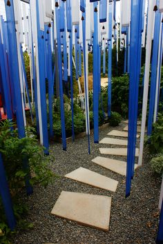 Contemporary Garden with blue fabric strips and bells (1)   Flickr - Photo Sharing!