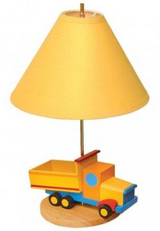 Boys Like Trucks Lamp This adorable dump truck lamp adds great interest to any little boy's bedroom. With a circular base finished in natural wood and a brilliant, rich yellow shade, it features a cool and colorful dump truck at the middle and brass toned hardware and fixtures for some added warmth and charm. #littleboysroom #teelieturner http://www.teelieturner.com/
