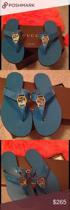 Authentic Gucci deep Colbalt Blue sandals sz8 Authentic GUCCI flipflops sandals in deep Colbalt blue patent leather. These classic Gucci flipflops are Venice Crystal with gold tone GG logo must haves. Every fashionista should own a pair. Worn several times like new. Gucci Shoes Sandals