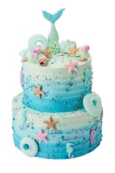 Mermaμμ id Cake Ocean Birthday Cakes, Little Mermaid Birthday Cake, Ocean Cakes, Little Mermaid Cakes, Birthday Cake Girls, Mermaid Cupcakes, 8th Birthday, Birthday Ideas, Fete Julie