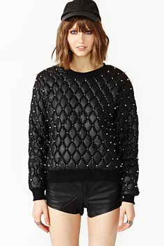 Quilted Stud Sweatshirt in Clothes Tops Sweaters at Nasty Gal