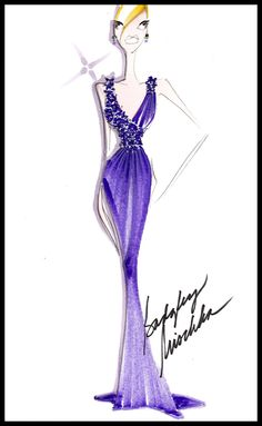 @Badgley Mischka Resort 2013 Look #3:  A very sexy decollete, dark violet matte jersey siren gown. It's actually very comfortable because it's very stretchy. #BGBadgley