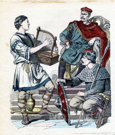 French middle ages dresses. Carolingian period clothing Medieval costume of Charles II the Bald, Military Leader, Knight in armor, Musician, Troubador