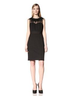 Nue by Shani Womens Sleeveless Dress with Feather Bead Collar (Black)