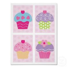 Baby Cakes Cupcake Girls Nursery Wall Art Prints print