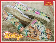 Alpargata Floral Naranja, tallas 34 a 40. Contacto 301 6347566 - www.tiendafeliza.com