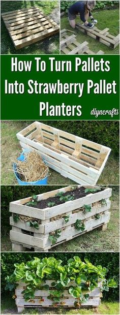 How To Upcycle Pallets Into Strawberry Pallet Planters {Brilliant Gardening Project} My new fav pallet project this girl is so talented! via @vanessacrafting #gardenplanters