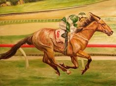 Horse race - Oil on canvas size 6 feet x 4 1/2 feet. By Mike Halem.