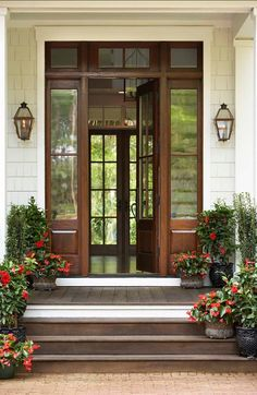 Front door with sidelights and transom.