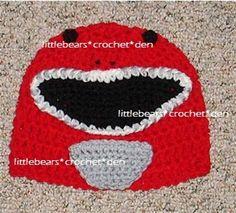 CUSTOM+CROCHETED+Boutique+RED+POWER+RANGER+Beanie+Hat