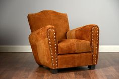 Wellington Upholstered Club Chair in Cocoa Suede with Mustache Back COM Available Other Fabrics Available Seat Height-16.25