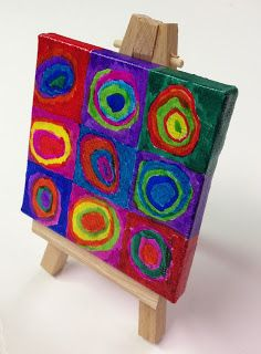 Mini Masterpiece Painting - I like the idea of a mini easel and mini canvases.  I think the kids would find this a fun activity.