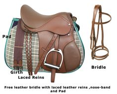 This is a 100% leather all purpose English saddle. This saddle has been constructed with horse and rider comfort in mind. The saddle features padded knee rolls and sturdy leather flaps. The underside of the saddle is flocked with wool for horse comfort and a better fit. This saddle package comes with a nylon girth, matching stirrup leathers and irons, a foam core saddle pad and a premium leather bridle with laced leather reins and flash nose-band. ONLY $449.99