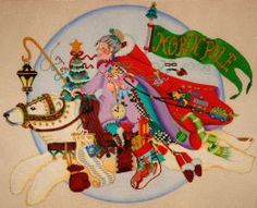 This unbelievable hand painted canvas of a Mrs. Claus is from the DeDe Collection <br> We can match this canvas with your favorite needlepoint thread to create a custom needlepoint kit! Size 13.5x11 Count 18