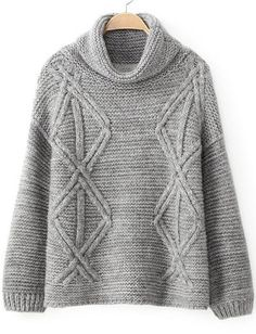 Shop Grey High Neck Long Sleeve Diamond Patterned Sweater online. Sheinside offers Grey High Neck Long Sleeve Diamond Patterned Sweater & more to fit your fashionable needs. Free Shipping Worldwide!