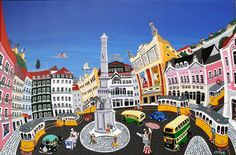 Great painting by J. Lisbon Tram, Flower Painting Canvas, Beyond Beauty, City Illustration, Great Paintings, Cultural, Naive Art, Detail Art, Artwork