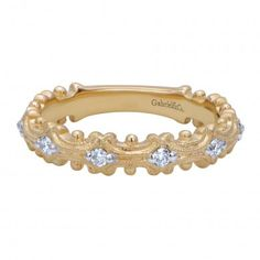 0.17 ct F-G SI Diamond Stackable Ladie's Ring In 14K Yellow Gold LR4873Y44JJ