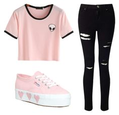 """Soft Pink Babe .2"" by ginnygirl610 on Polyvore featuring Miss Selfridge and Superga"