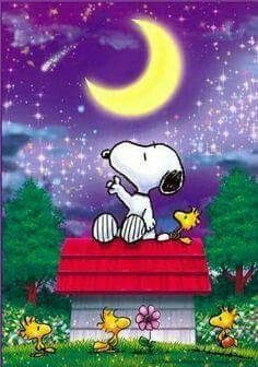 Snoopy and friends under a crescent moon .