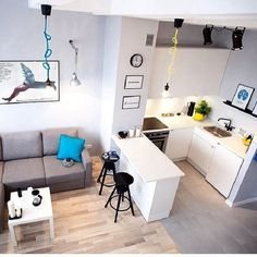 65 the cool stylish small kitchen rooms 2019 38 ⋆ masnewsclub Condo Interior Design, Small Apartment Interior, Small Apartment Design, Small Apartment Living, Condo Design, Studio Apartment Decorating, Apartment Layout, Small Apartments, Interior Modern
