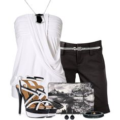 White, black and gray, created by mommygerloff on Polyvore
