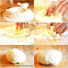 Preparazione tria. Mescolare la farina di semola con acqua tiepida leggermente salata, fino ad ottenere un impasto liscio e compatto e lasciarlo riposare nella pellicola per almeno mezz'ora.