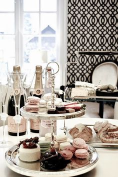 Champagne, macarons, beautiful space. What's not to like?
