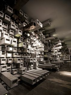 Wuhan Pixel Box Cinema, China  The concept of the new Wuhan Cinema, designed by Hong Kong based firm One Plus Partnership Limited, is founded on the idea of pixels and movement, a concept which sparked a variation of block-like designs for each different space in the theater.