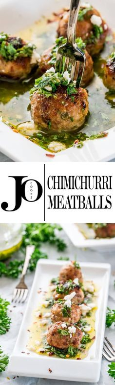 These Chimichurri Meatballs are epic, so easy to make, yet super impressive and perfect for your holiday party! There's nothing boring or bland about these meatballs, it's the chimichurri sauce and feta cheese that take these meatballs to the next level of flavor. www.jocooks.com #meatballs