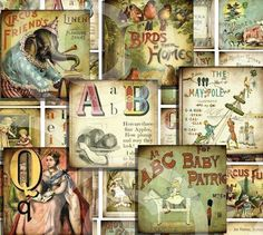 DIGITAL COLLAGE SHEET - Vintage images Download - SToRY BLoCKs 1.5 x 1.5 inch image squares CiRCuS Nursery Rhymes