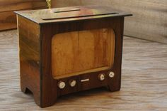 Vintage 50s-60s Wooden TV Money Bank Picture by SycamoreVintage
