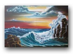 Seascape Painting Original Painting Crashing Waves on Beach Ocean Painting Vibrant Realism Painting on Canvas Modern Art 36x24 Heather DAY