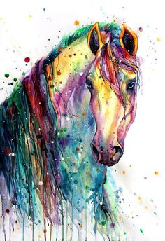 Horse Fabric, Watercolor Horse Head and Mane Fabric Panel 2046 Horse Drawings, Animal Drawings, Art Drawings, Wolf Drawings, Drawing Quotes, Watercolor Horse, Watercolor Animals, Tattoo Watercolor, Watercolor Fabric