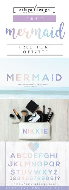 FREE Mermaid font. Compatible with Cameo Silhouette and cricut, perfect to make personalized and stylish AND adorable craft projects with this font! mermaid SVG free file, mermaid cut file, mermaid free font