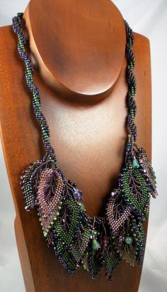 Beadweaving: Spiral Necklace with Russian Leaves - Deep Green, Amethyst, Burgundy. $400.00, via Etsy.
